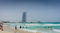 One Fine Day (Bartholomew K Poonsiri) Tags: blue sea sky people seascape beach water landscape daylight sand dubai outdoor uae middleeast wave wideangle shore burjalarab jumeirah sonyepz1650mmf3556oss sonyilce6000