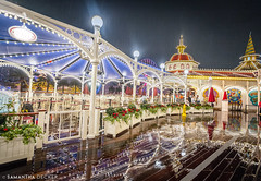Paradise Pier in the Rain (Samantha Decker) Tags: california ca rain night unitedstates disneyland wideangle socal anaheim themepark disneyscaliforniaadventure uwa paradisepier canonef1635mmf28liiusm canoneos6d samanthadecker socal16
