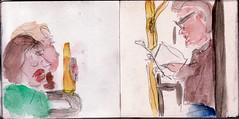 Sie hatten sich in einem Bus getroffen beim ersten Mal, sich aber kaum beachtet (raumoberbayern) Tags: city winter bus fall pencil paper munich mnchen landscape herbst tram sketchbook stadt papier landschaft bleistift robbbilder skizzenbuch strasenbahn