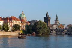 View of Prague from river on evening cruise (stephengg) Tags: old bridge tower river town republic czech prague praha vltava