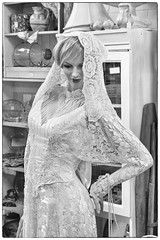 The Bride (Mike Matney Photography) Tags: 2016 canon eost5 illinois livingston may midwest pinkelephant antiques bride dress gown weddinggown blackandwhite staunton unitedstates us