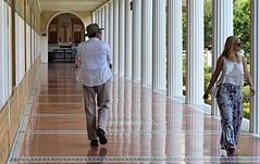 The Getty Villa (Robert Borden) Tags: california people reflection hat architecture la losangeles getty gettyvilla