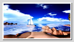 The boat (Shylah Oceanlane) Tags: seascape beach boat sailing yacht scenic sl secondlife