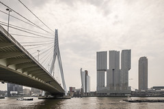 View along the Erasmus bridge (G. Warrink) Tags: building architecture boat rotterdam ship harbour transport cargo structure