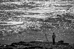 . . . gone fishing (orangecapri) Tags: orangecapri sea seascape fishing water ocean bokeh berwick blur blurred aqua waves figure bw mono explore explored inexplore hmbt berwickupontweed northumberland