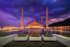 Faisal Mosque (Minhaj Qazi) Tags: blue pakistan sunset red green beautiful architecture faisalmosque