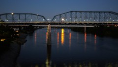 Moon.Lights. (Roland 22) Tags: chattanooga tn tennesseeriver reflection light glow evening moon walnutstreetbridge northshore riverbank rocks lamps flickr coolidgepark blue gray orange