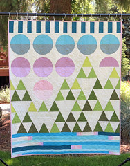 Mountain Scene (Quiltachusetts - Heather Black) Tags: pink blue trees orange lake green geometric modern walking foot aqua purple quilt path contemporary circles quilting peel curve curved drunkard piecing