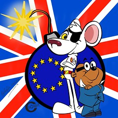 """""""oh crumbs Chief!"""" - Brexit - a sinister plot by Baron Greenback? (cazcarrot) Tags: uk art illustration danger fun mouse flag politics satire cartoon eu hamster illustrator dangermouse bomb unionjack vector penfold brexit"""