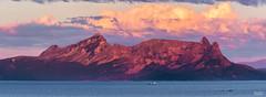 Mountains last light (JaniOjalaFINLAND) Tags: wwwjaniojalacom jani ojala panorama norway ocean mountains cliff lastlight clouds sunset sunrise ship boat tiny huge red