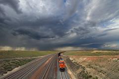 Thundering Wyoming skies (Moffat Road) Tags: railroad storm clouds train locomotive wyoming logan stormysky bnsf wy coaltrain thunderbasinnationalgrasslands powderriverbasin loganhill orinline