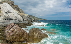 Harsh Environment... (Photo_hobbyist) Tags: clouds water aegean sporades skopelos blue geology waves