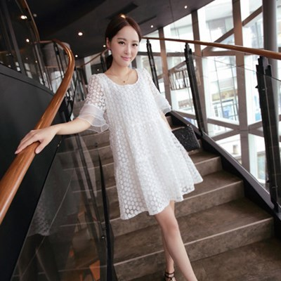 Mm fat and fat ladies XL 200 pounds long chiffon dress summer 2016 fat sister bottoming shirt