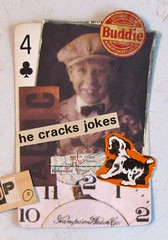 He Cracks Jokes (Lydia's Post) Tags: apc playingcard alteredart alteredplayingcard collage paperart atc sepia vintagestyle timholtz people