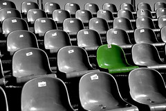 The green seat (And Smith) Tags: nikond5200 sigma18250 selectivecolour green seat seats crowd stadium