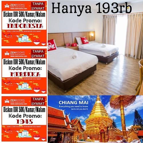 Travelling ke Chiang Mai gak pakai ribet cari penginapan. Cek zenrooms.com dan gunakan kode promo INDONESIA / MERDEKA /1945. Otomatis diskon 50rb per malam per kamar. Start 193rb/kamar/malam --------------------------------------------Contoh kasus: Kamu b
