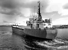 Scotland Greenock an old cargo ship called Burhou-I leaving the ship repair dock 29 August 2016 by Anne MacKay (Anne MacKay images of interest & wonder) Tags: scotland greenock old cargo ship burhoui repair dock monochrome blackandwhite xs1 29 august 2016 picture by anne mackay