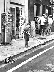 Keeping my place clean (leledaki) Tags: palermo sicily italy clild broom road black white