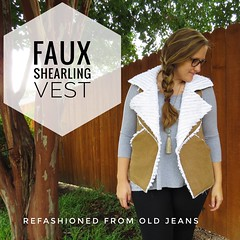 Denim Faux Shearling Vest - After (nosmallfeet) Tags: sewing refashions vests jackets