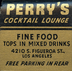 Perry's Cocktail Lounge (jericl cat) Tags: matches matchbook match illustration vintage losangeles paper ephemera restaurant dining cocktail perrys lounge