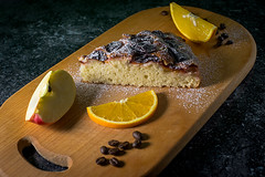 Pie with fruits (Valery Parkhomenko) Tags: nikon d610 arsat 50mm abstract studio kitchen kyiv ukraine object orange coffee apple cutting board food pie indoor