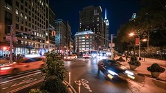 Flatiron Time Lapse 4 (Michael.Lee.Pics.NYC) Tags: newyork flatirondistrict night broadway fifthavenue esb empirestatebuilding cityscape architecture sony a7rm2 voigtlanderheliar15mmf45 video timelapse