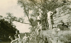 01577 (Hendrix College) Tags: shirtless tree nature water creek standing river landscape outdoors rocks sitting archives swimsuit bathingsuit hendrixcollege yespeople
