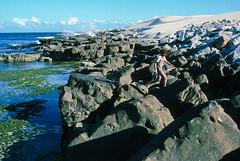 Rocks at Cape Howe, Nadgee, 1985 (NettyA) Tags: summer film 35mm sand dunes australia slide pacificocean coastal bushwalking nsw scanned newsouthwales kodachrome 1986 1985 scannedslide capehowe farsouthcoast nadgee nadgeenaturereserve nswvictorianborder