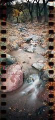 (No Stone Unturned Photography) Tags: longexposure arizona film water creek 35mm lomo lomography fuji hiking tripod 400 flowing sprockets sprocketholes redcreek sprocketrocket