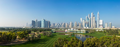 A panorama of the 18th hole with the hospitality stands and the clubhouse in the background (Ladies European Tour) Tags: dubai uae unitedarabemirates