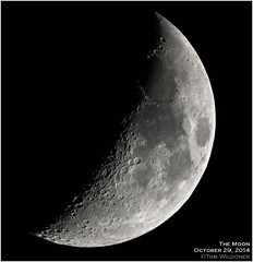 Waxing Crescent Moon October 29 2014 (LeisurelyScientist.com) Tags: moon night canon october glow crescent astrophotography astronomy nightsky cosmos waxing solarsystem astronomer 2014 waxingcrescent nighsky canon6d tomwildoner