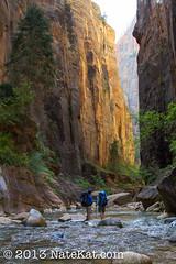 In Awe (NateKat Photography) Tags: river utah backpacking zionnationalpark redrock narrows rockwalls slotcanyon virginriver canon7d