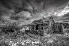 Even the Spirits Grow Old Here... (Jon Dickson Photography) Tags: old winter sky snow newmexico southwest abandoned blackwhite dangerous ancient desert ghost brush nm decrepit hdr