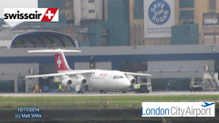 LONDON CITY AIRPORT SWISS AIR 15112014 (MATT WILLIS VIDEO PRODUCTIONS) Tags: city london airport swiss air albert royal british airways runway