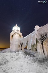 """Frigid Light"" St. Joseph Lighthouse (Michigan Nut) Tags: nightphotography winter light sky usa lighthouse cold ice night stars frozen lakemichigan astrophotography icicles nightscapes starscape johnmccormick stjosephlighthouse nikon20mmf18 michigannutphotography polarvortex"