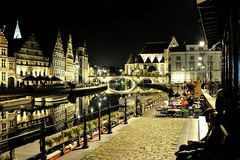 Gand by night (nic( o )) Tags: city night belgium belgique belgi nuit ghent gent gand graslei belgien citynight