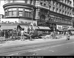 Rail Puller Removing Tracks for Reconstruction of Market Street   March 15, 1948   X1516 (SFMTA Photo Archive) Tags: sanfrancisco california ca blackandwhite usa 1948 us workers construction photographer exterior publictransportation outdoor tracks streetscene machinery muni transportation storefront pedestrians hastings marketstreet contractor streetview reconstruction powellstreet crowded march15 outbound floodbuilding florsheimshoes sanfranciscomunicipalrailway hershs maintenanceofway sfmta owldrug 32line moxom sanfranciscomunicipaltransportationagency acetatenegative marshallmoxom railpuller eatonandsmith morgenjewelry streetcar698 x1516