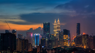 Blue Hour View of Kuala Lumpur Concrete Jungle.