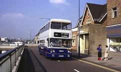 Birchfield Road, Perry Barr, Birmingham, 1990 (Lady Wulfrun) Tags: travel blue bus grey birmingham route service westmidlands 1990 91 fleetline twm livery birchfieldroad perrybarr 6873 wmt wmpte tvp873s