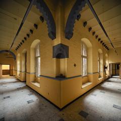 (Subversive Photography) Tags: abandoned yellow belgium decay corridor hallway urbanexploration gaudy derelict urbex splitcorridor danielbarter