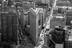 V (RosLol) Tags: street nyc blackandwhite bw usa newyork building architecture america cityscape looking view down empire architettura flatiron biancoenero