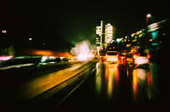 grit (itawtitaw) Tags: color cars film wet rain night 35mm reflections munich lights mirror diy driving snapshot autobahn olympus 200 freeway stylus 135 dm epic mjuii paradies c41 tetenal colortec