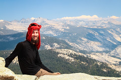 Never Forget Your Hat (Xuberant Noodle) Tags: california park ca portrait cliff rock climb jump hike national yosemite dome half granite