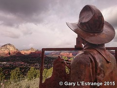 Sedona, (a different viewpoint) (garylestrangephotography) Tags: red vacation arizona usa mountain statue rock bronze painting landscape scenery cowboy butte view sony scenic sedona roadtrip vista overlook z3 sculptor xperia joebeeler garylestrangephotography