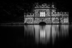 The Boathouse (S.R.Murphy) Tags: blackandwhite theboathouse water longexposure landscape urbanlandscape dam lake stillwater canon canon7d canon24105mmf4l 10stopfilter yorkshire wakefield newmillerdam hilltop westyorkshire historical historicalbuilding heritage bw mono monochrome