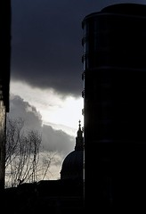 St Paul's Cathedral, from the Barbican, London (chrisjohnbeckett) Tags: new old blue winter urban black building london silhouette architecture cross cathedral stpauls barbican dome londonist canonef24105mmf4lisusm chrisbeckett