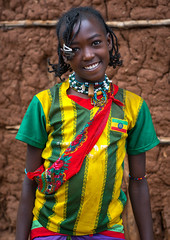Portrait of a smiling bana tribe teenage girl, Omo valley, Key afer, Ethiopia (Eric Lafforgue) Tags: africa portrait people woman color cute girl smiling fashion vertical shirt hair outdoors photography necklace football women day african decoration culture tribal ornament teenager omovalley ethiopia cheerful tribe hairstyle bana cultural oneperson braid braided adornment hornofafrica ethiopian banna eastafrica abyssinia traditionalclothing realpeople beadednecklace lookingatcamera oneyoungwomanonly waistup keyafer 1people onegirlonly traditionandmodernity beadednecklaces modernityandtradition ethio162129