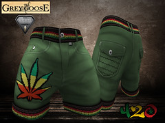420 Shorts Aesthetic (*The Grey Goose) Tags: boy red male men green yellow leaf avatar 420 cargo sl pot secondlife virtual hippie shorts cannabis
