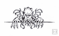 KilroyCthulu-100 (artistbyday) Tags: blackandwhite contrast ink funny comic shadows drawing cthulhu lovecraft horror claws linedrawing clever kilroy tentacles moster artmarkers