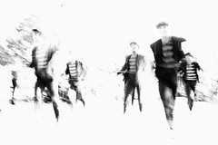 they come for you (2)  [explored 5.5.16] (zzra) Tags: bw white motion black blur contrast high parade